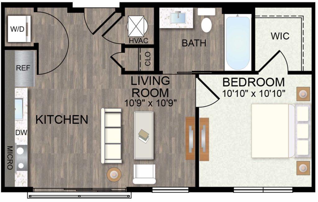 549 sq. ft. Bluebonnet floor plan