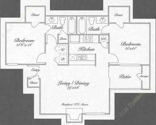 907 sq. ft. B2 floor plan