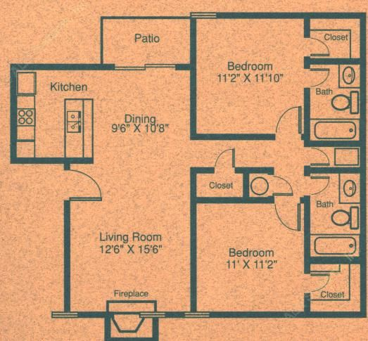 954 sq. ft. B1 floor plan