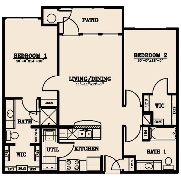 917 sq. ft. Pecos 50% floor plan