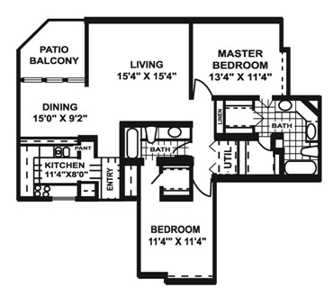 1,177 sq. ft. K1 floor plan