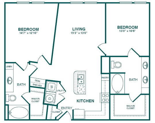 1,051 sq. ft. A2SD floor plan