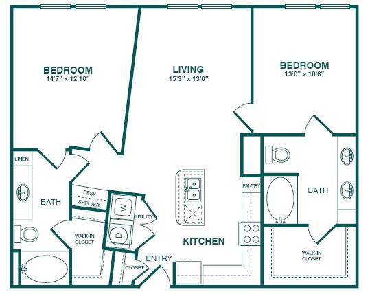 1,051 sq. ft. A2SD floor plan