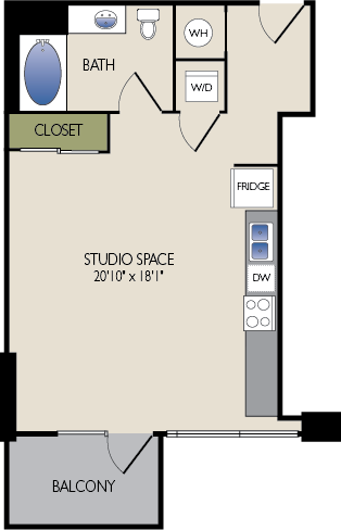 573 sq. ft. C3 HC floor plan