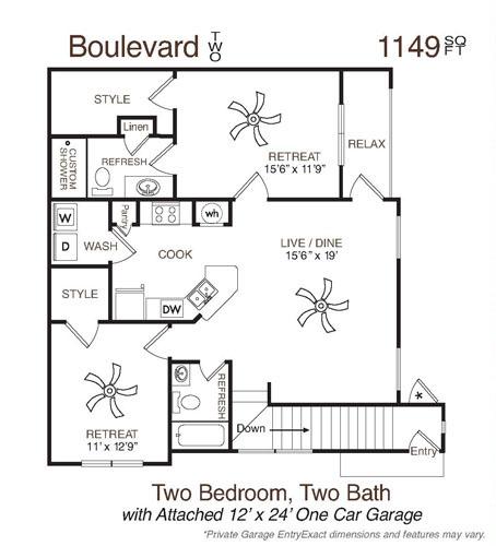 1,149 sq. ft. Boulevard Two floor plan