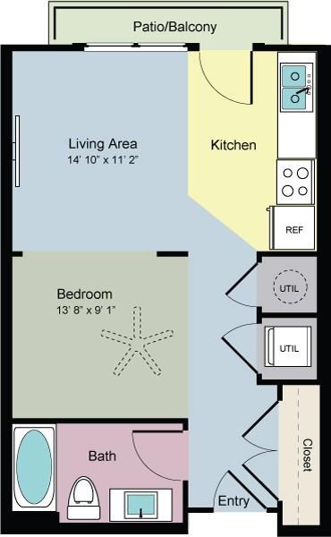499 sq. ft. Form (E1) floor plan
