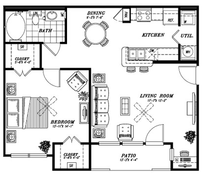 808 sq. ft. A2 floor plan