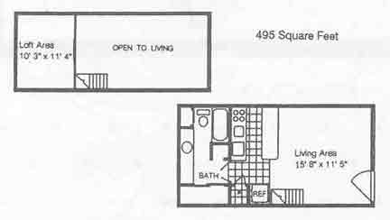495 sq. ft. A1/50% floor plan