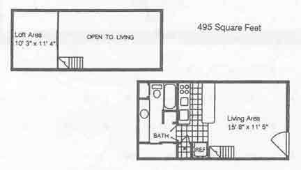 495 sq. ft. A1/80% floor plan