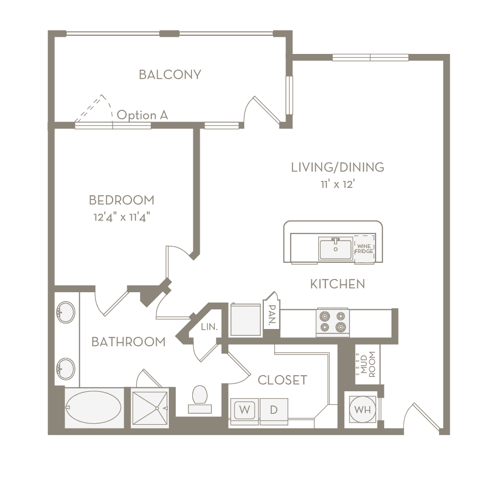 846 sq. ft. A6 floor plan