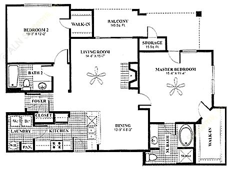 1,243 sq. ft. Veranda floor plan