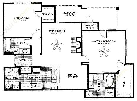 1,243 sq. ft. Veranda floor plan