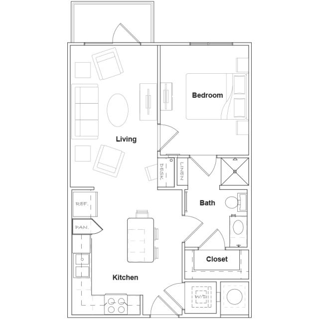 613 sq. ft. A1- floor plan