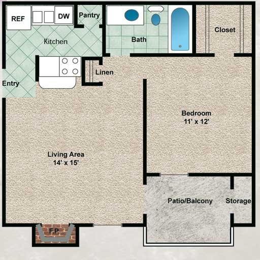 560 sq. ft. Sequoia floor plan