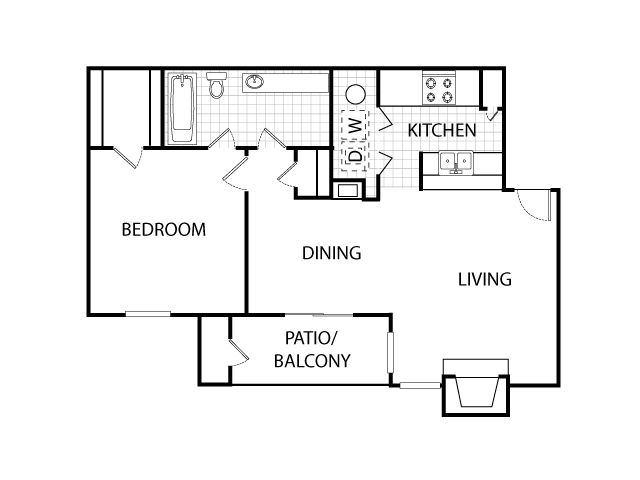 675 sq. ft. A3 floor plan