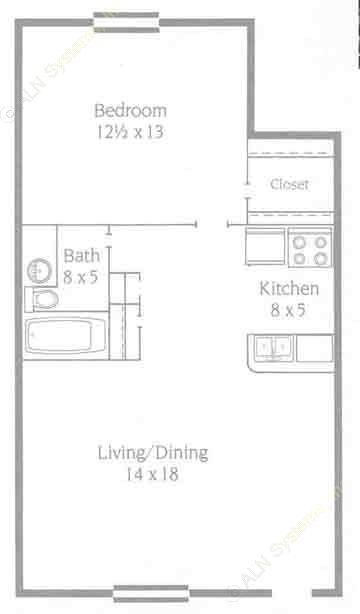 560 sq. ft. A1 floor plan