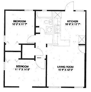 740 sq. ft. B floor plan