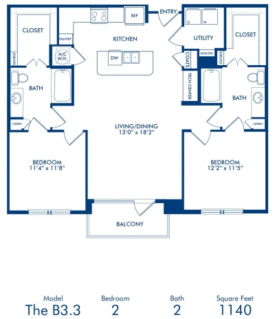 1,140 sq. ft. B3.3 floor plan