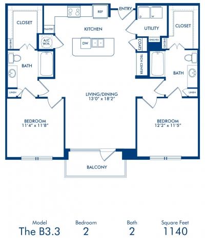 1,140 sq. ft. B3.3 floor plan