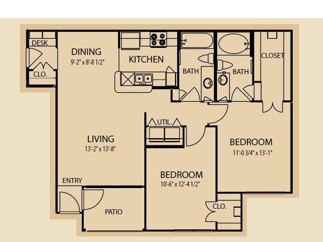 999 sq. ft. B1 floor plan