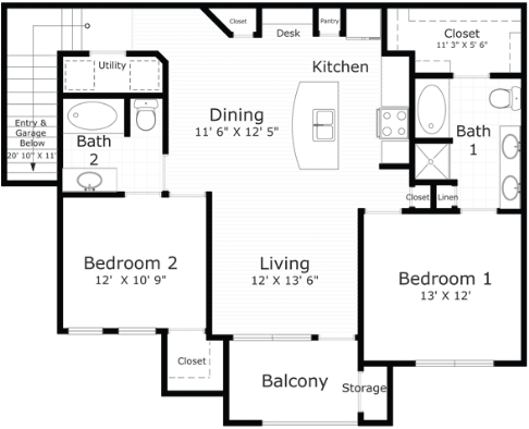 1,198 sq. ft. Bristol floor plan