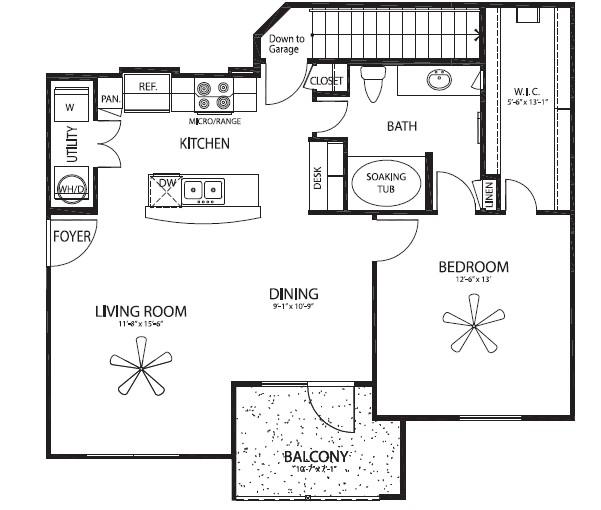 894 sq. ft. Durango/G floor plan