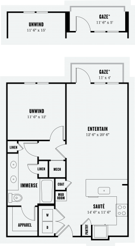 844 sq. ft. A5 floor plan
