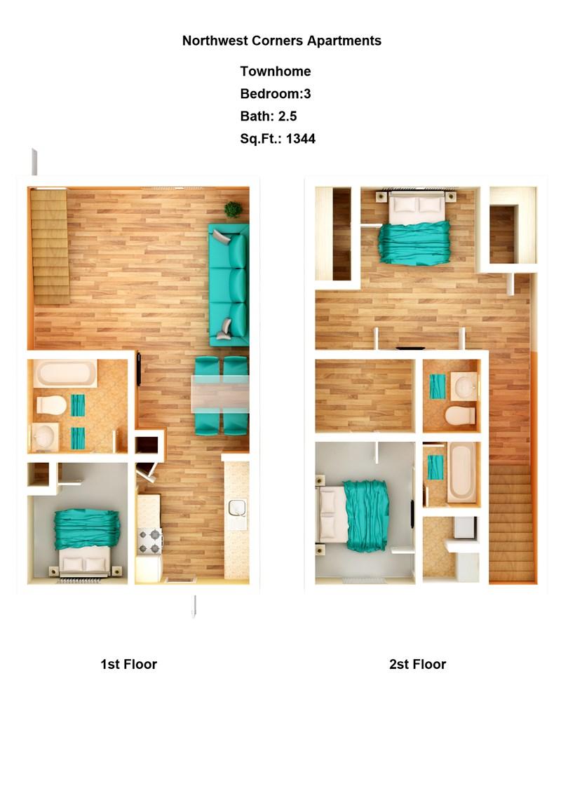 1,344 sq. ft. Townhouse floor plan