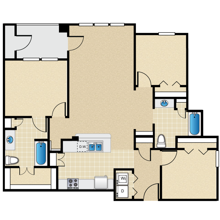 1,272 sq. ft. 60% floor plan
