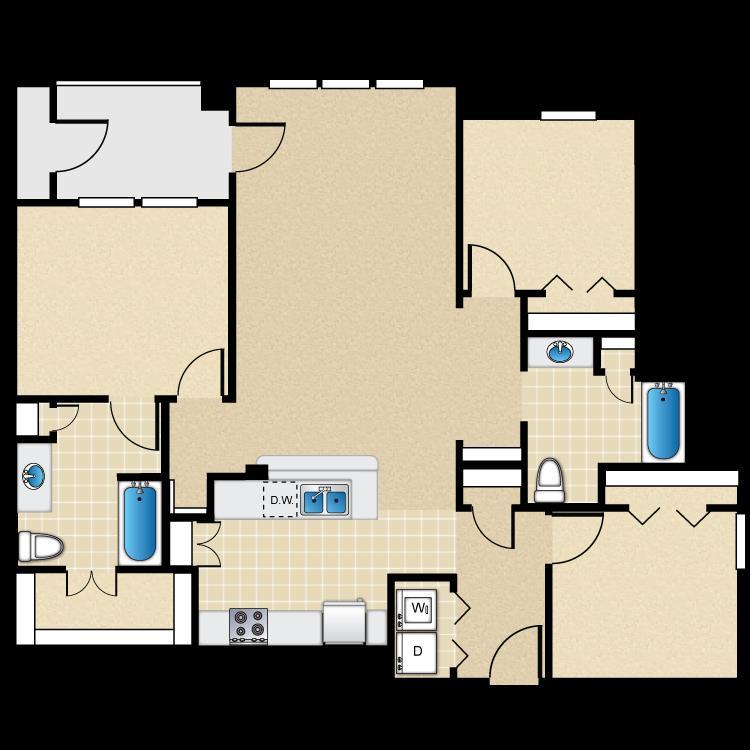 1,272 sq. ft. 60% floor plan