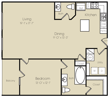 1,078 sq. ft. Manhattan floor plan