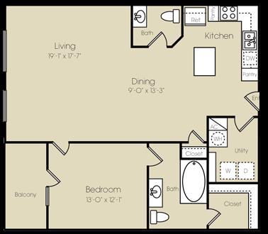 1,149 sq. ft. to 1,152 sq. ft. Radio City floor plan