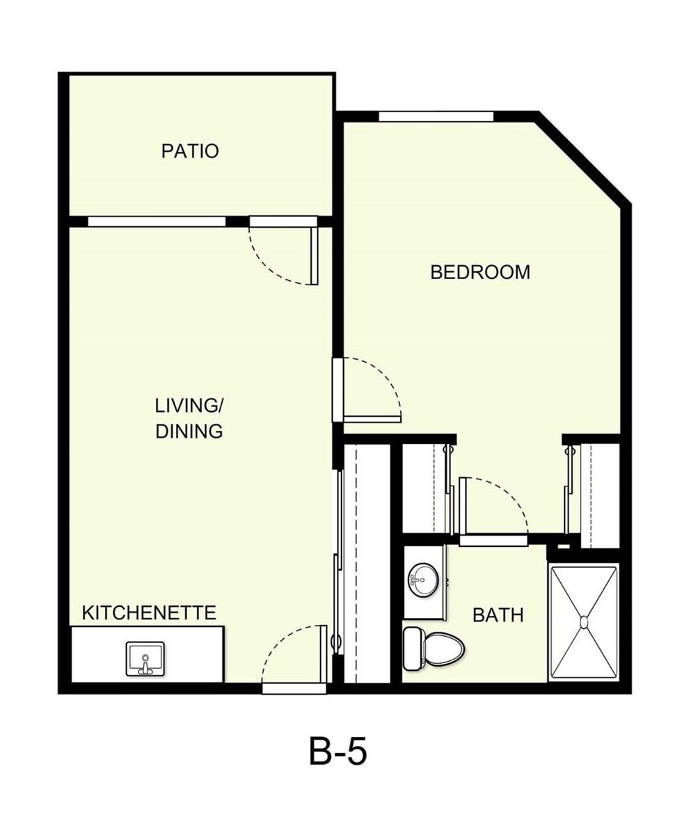542 sq. ft. B5 floor plan