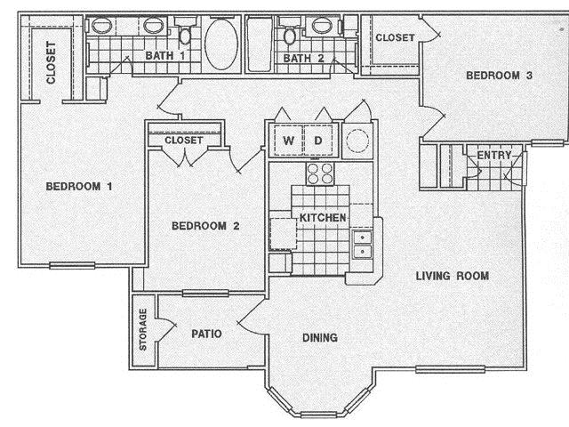 1,300 sq. ft. F floor plan