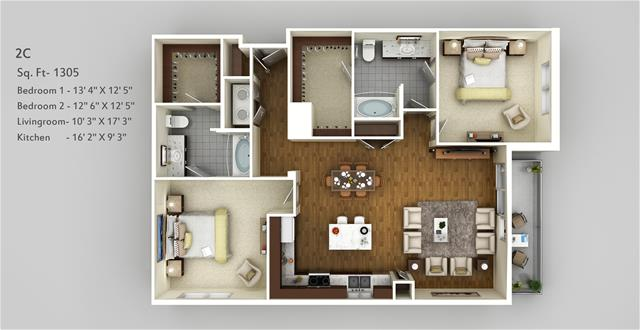 1,305 sq. ft. 2C floor plan