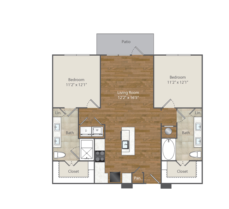 1,116 sq. ft. B1 floor plan
