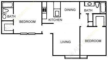 887 sq. ft. B4 floor plan