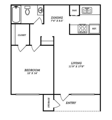660 sq. ft. A1 floor plan