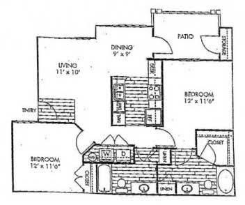 959 sq. ft. B1 floor plan