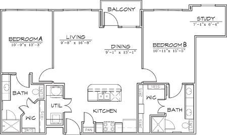 1,064 sq. ft. floor plan
