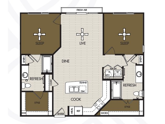 1,074 sq. ft. B1b floor plan