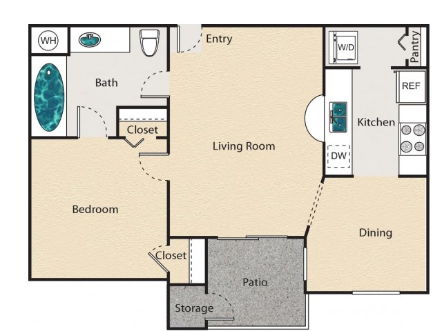 608 sq. ft. B - Belgrave floor plan