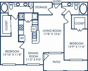 1,194 sq. ft. II/B2B floor plan