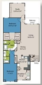 1,516 sq. ft. B5 floor plan