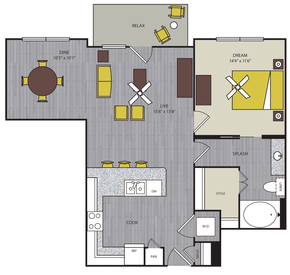 833 sq. ft. to 853 sq. ft. A14 floor plan