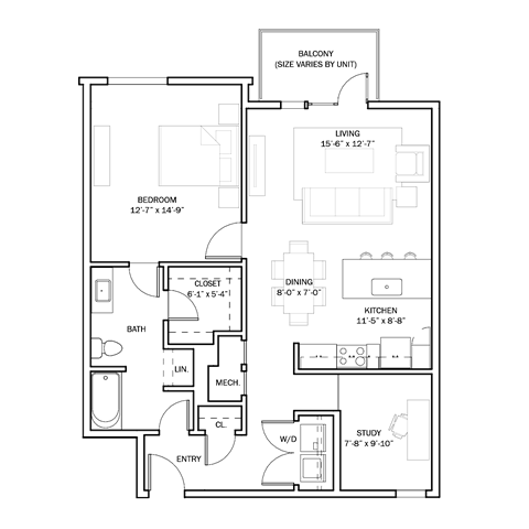 972 sq. ft. B1 floor plan