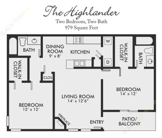 979 sq. ft. Highlander floor plan