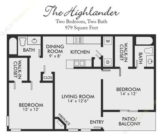979 sq. ft. Highlander floor plan