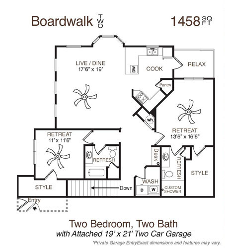 1,447 sq. ft. to 1,458 sq. ft. Boardwalk Two floor plan