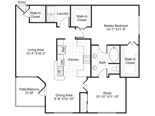1,176 sq. ft. A6 floor plan